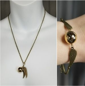 Golden Snitch Gold Chain Necklace & Bracelet Set